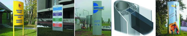 Werbepylon / Pylon mit gewölbter Scheibe - bis max. 2.500 mm Höhe